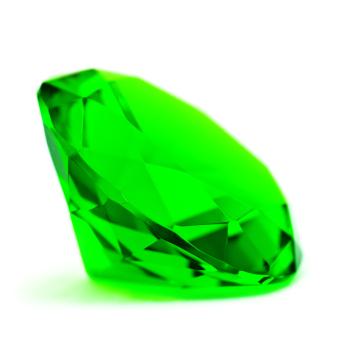 Green emerald gemstone on white background